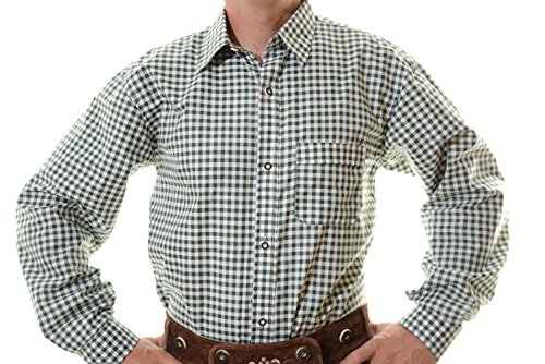 Lederhosen Shirt, Trachtenshirt, Oktoberfest Shirt, German Costume Shirt green/white checkered, M