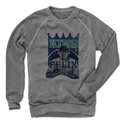 500 LEVEL's Felix Hernandez Pro B Seattle Baseball Men's Crew Sweatshirt XL Heather Gray Officially Licensed by the Major League Baseball Players Association (MLBPA)