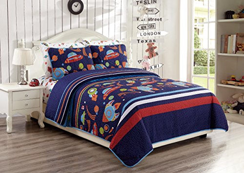 Full Size 3pc Bedspread Set for Boys Solar System Space Rocket Ship Stars White Orange Yellow Green Blue New