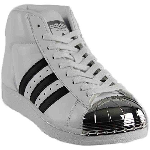 adidas Women's Pro Model Metal Toe Originals Ftwwht/Black/Goldmt Casual Shoe 9.5 Women US (Casual Model)