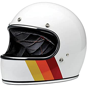 Tri-Casco Gringo Biltwell Stripe Blanco Brillante Integral Retro Vintage Años 70 Custom Chopper Bobber