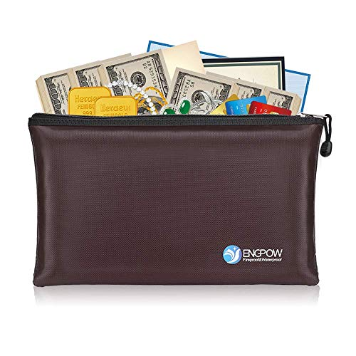 (Fireproof Money Bags ENGPOW A5 Size Zipper Business Document Organizer Portable Filing Pouch Non-Itchy Silicone Coated Fire Water Resistant Securit Bank Deposit Cash 11.5X7.9 inches Dark Brown 100144)