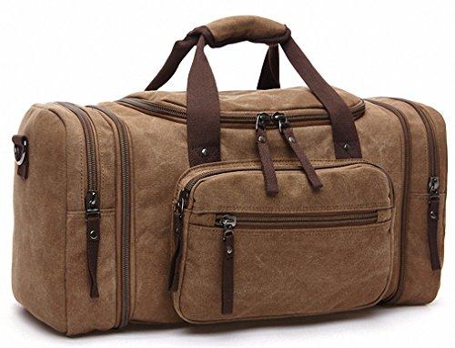 Kenox Oversized Canvas Travel Tote Luggage Weekend Duffel Bag (Coffee)
