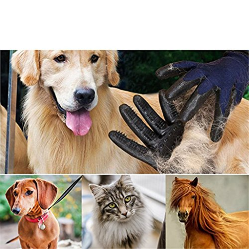 Pet Grooming Mitt Glove -Gentle Deshedding Glove Heavy Duty Deshedding Tool For Cats, Dogs & Horses Short, Long Hair Removal - Pair Of Left & Right Black Mitt,Blue,5Pair by LCYCN (Image #5)
