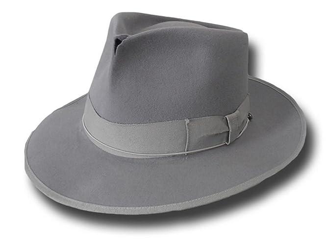 64b58a271f96c Amazon.com  Fedora Johnny top quality hat antiqued Grey  Handmade