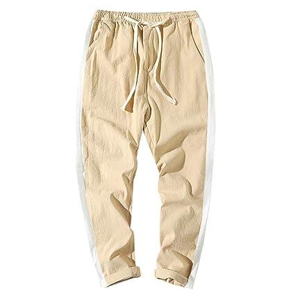 9afc1de1 Amazon.com: Men Casual Loose Long Pants,Men's Elastic Waist Striped ...