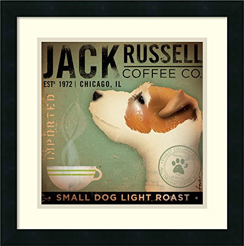 (Framed Art Print, 'Jack Russell Coffee Co.' by Stephen Fowler: Outer Size 18 x 18