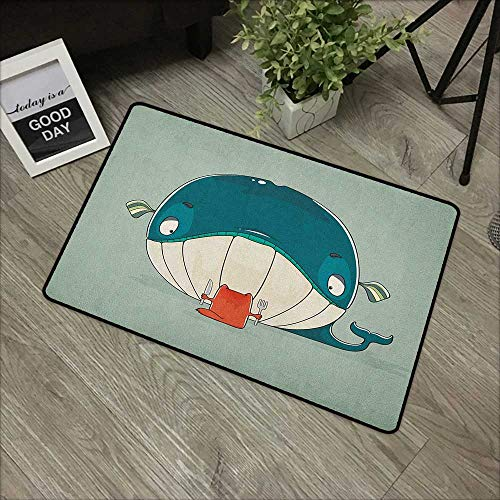 100' Almond - Meeting room mat W19 x L31 INCH Whale,Greedy Little Cat Sitting down to Dine on A Huge Fish Dinner of Whale Cartoon, Almond Green Teal Natural dye printing to protect your baby's skin Non-slip Door Ma