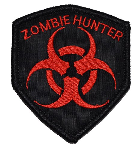 (Zombie Hunter Biohazard Symbol 2.5x3 Shield Morale Patch - Multiple Colors (Black with Red) )