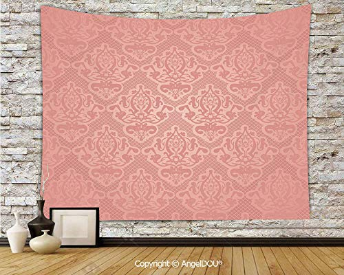 (AngelDOU Peach Soft Fabric Durable Tapestry Wall Hanging Lace Style Background with Antique Wedding Inspiration Motifs Ornamental Vintage Design Wall Art Hippie Tapestry.W59xL51.2(inch))