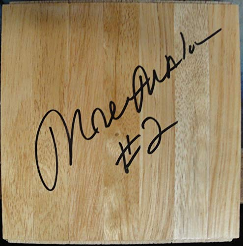 (Moses Malone Hand Signed Autographed 6x6 Wood Floor Piece HOF 2001 W/COA)