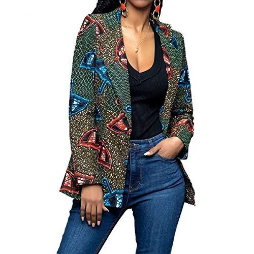 ZFFde Invierno Chaqueta estampada africana para mujer Gire la chaqueta de mangas largas con cuello Dwon (Color : Green, tamaño : S)