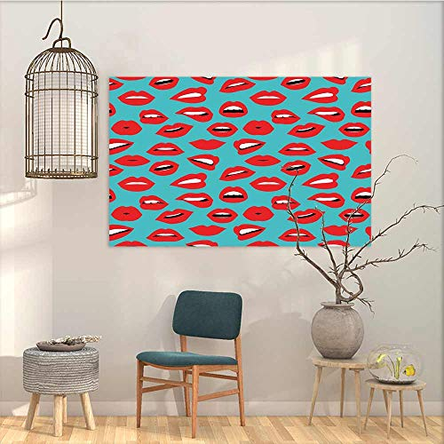 Oncegod Printing Oil Painting Art Sticker Kiss Retro Woman Mouth Red Lipstick Girl Expressing Different Emotions Female Vintage Oil Canvas Painting Wall Art Teal Red White W23 xL19 (Lipstick Little Kisses Minerals)