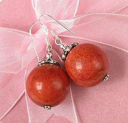 FidgetGear 12MM Natural Round Red Coral Beads 925 Sterling Silver Dangle Earrings AAA