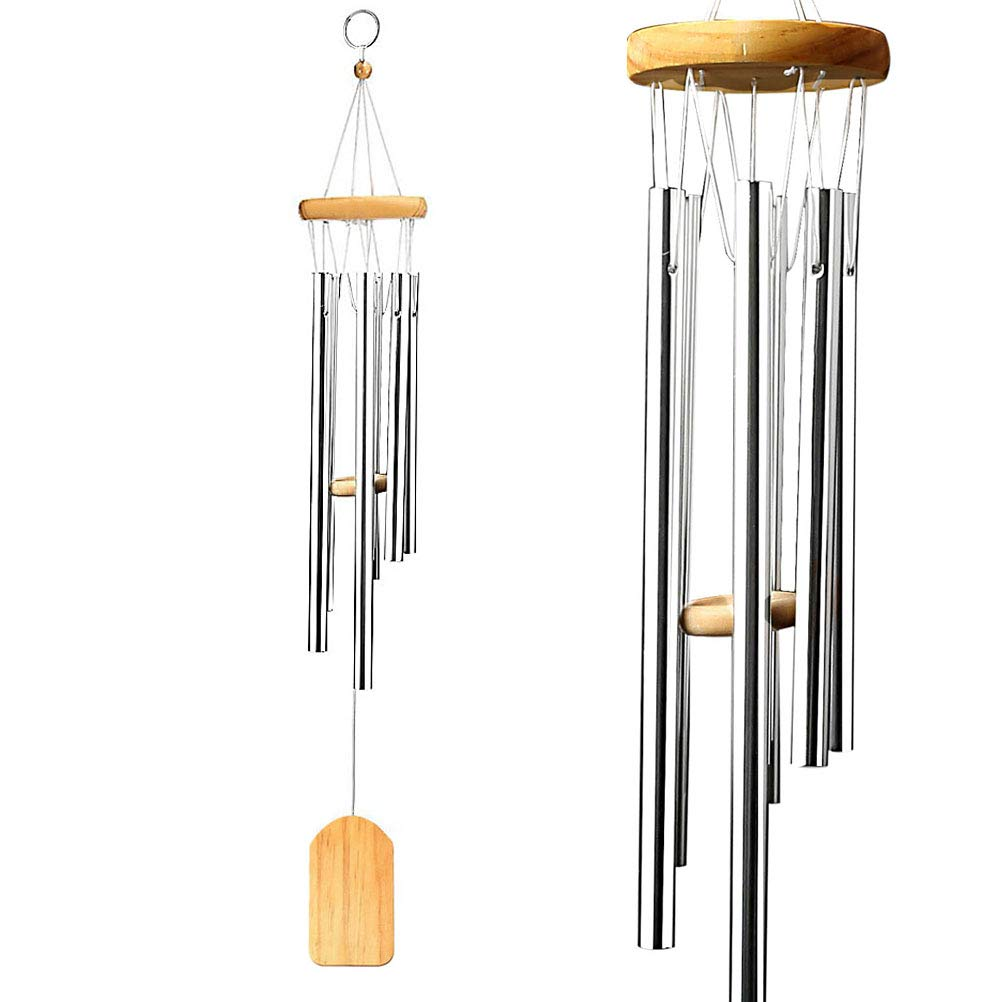 wotu Silver Wind Chime Outdoor, Garden Woodstock Wind Chimes Home Decor Wind Chimes for Outdoor Garden Grace Birthday Gifts