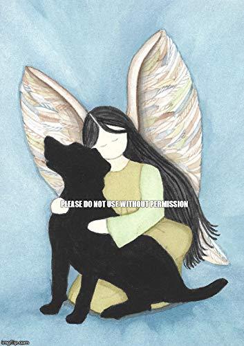 Lynch Black Labrador (lab) Retriever and Angel Folk Art Print