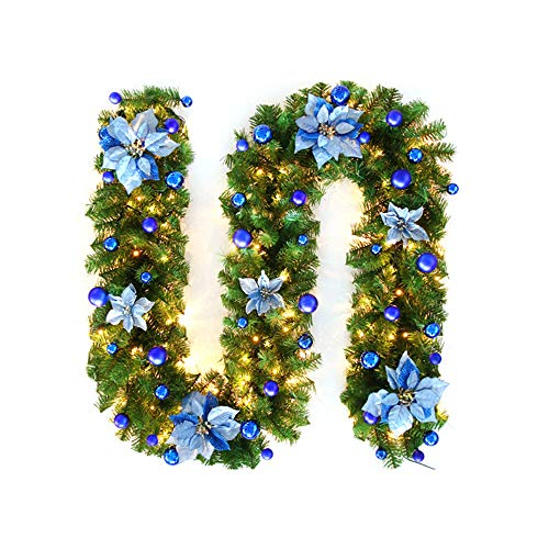 OurLeeme Guirnalda de Navidad con luz, 2,7 m Guirnalda De Pino Artificial Flor De Navidad con Luz para La Decoración del Hogar,Azul