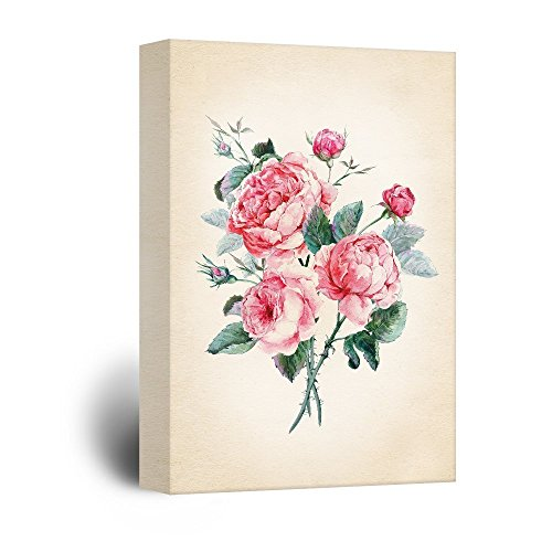 wall26 Canvas Wall Art - Watercolor Style Roses Petals - Giclee Print Gallery Wrap Modern Home Decor Ready to Hang - 24x36 inches ()