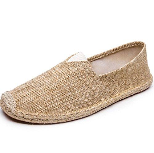 HAOYUXIANG di ventilazione moda scarpa Nuove piede Linen dimensioni mano lino scarpe cucito uomini e tela Colore pedale a 42 Un corda pigro uomo khaki donne di scarpe scarpe tessuto alla rrqYP