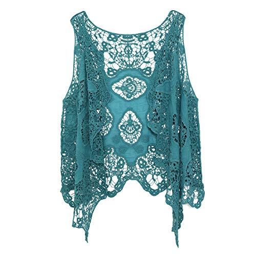 jastie Open Stitch Cardigan Boho Hippie Crochet Vest (Pagoda Blue) from jastie