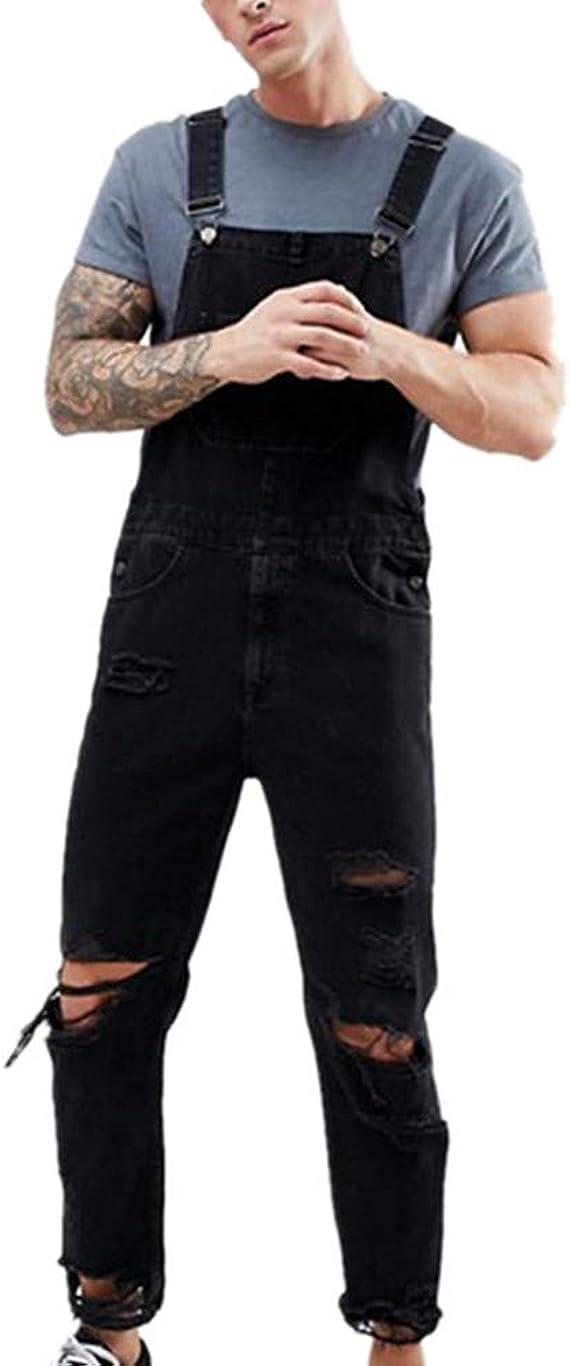 Denim Jeans Bib Overoles Pantal/ón Vaqueros de Mono para Hombre Pantalones de Bolsillo Rotos Mezclilla Jumpsuit Casual Fansu Peto Jeans Monos Hombres