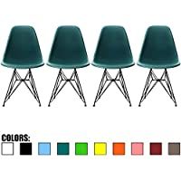 2xhome - Set of Four (4) - Teal - Eames Style Side Chair Black Eiffel Base Dining Room Chair - Lounge Chair No Arm Arms Armless Less Chairs Seats Black Wire Legs