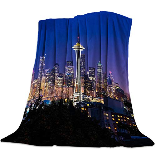 Flannel Fleece Throw Blanket for Sofa Couch Warm Cozy Microfiber Lightweight All Season Use - Seattle Space Needle City Night View 50