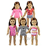 Barwa 5 Sets Summer Bathing Clothes Swimsuits Lots for 18 Inch American Girl Doll Gift