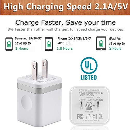 USB Wall Charger, BEST4ONE 2-Pack 2 1A/5V Dual Port USB Plug Power Adapter  Charging Block Compatible with Phone XS/XR/X, 8/7/6 Plus, Samsung, Tablet,