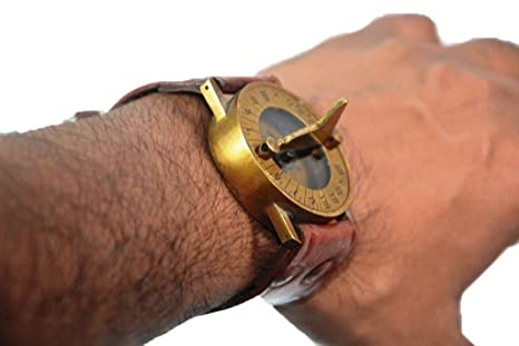Nautical Gift Decor Antique Steampunk Wrist Brass Compass & Sundial-Watch With Leather Strap Sundial