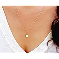 Tiny Initial Necklace, Gold Square Tag Necklace, Personalized Small Letter Necklace, Silver or Rose Gold Monogram Square Shaped Necklace