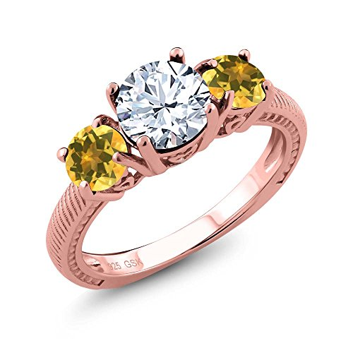 Topaz Yellow Citrine 18K Rose Gold Plated Silver 3 Stone Ring (Size 5) ()