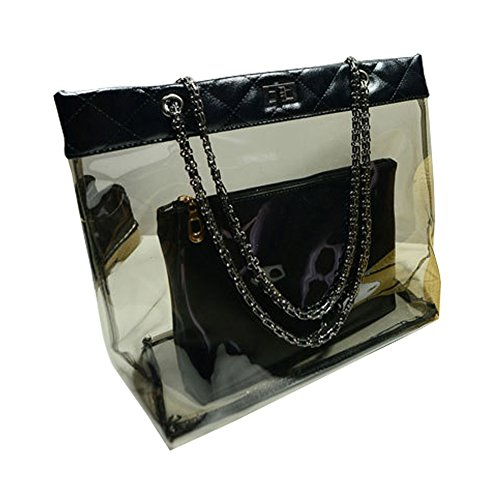 Casual Chain - FTSUCQ Womens Casual Chain Clear Tote Transparent Beach Handbag Black Trapeze Bags