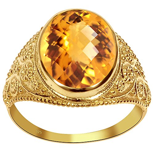 ine 18k Gold Over Sterling Silver Textured Women's Ring ()