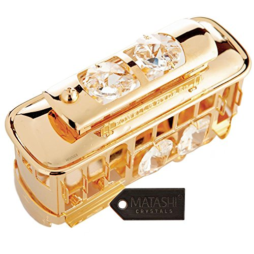 24K Gold Plated Crystal Studded Cable Car Ornament by Matashi