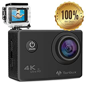 4K Sport Action Camera Tonbux Waterproof WiFi Action Cam Underwater Sport Camera with 2.0 Inch Display 170 Degrees Wide Angle Lens, include 2 Rechargeable Batteries Kit, Black