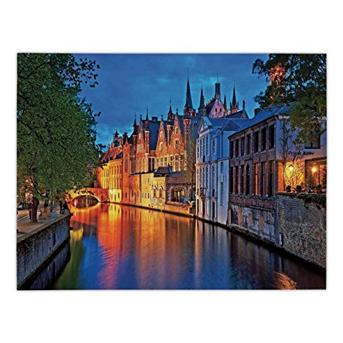 (Polyester Rectangular Tablecloth,Medieval Decor,Night Shot of Historic Middle Age Building along the River in Bruges Heritage Old Town Photo,Multi,Dining Room Kitchen Picnic Table Cloth Cover,for Outd)