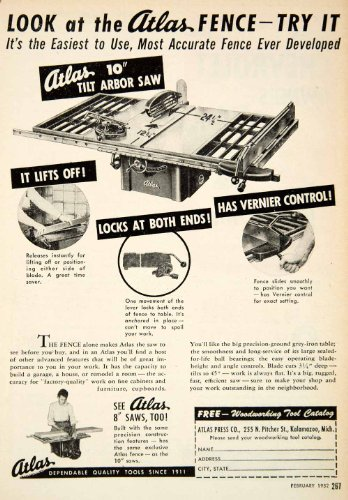 1952 Ad Atlas Arbor Saw Press Kalamazoo Michigan Tool Household Advertising - Original Print Ad from PeriodPaper LLC-Collectible Original Print Archive