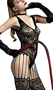 The Victory of Cupid Womens Sexy Fishnet Floral Crotchless Bodysuits Suspender Bodystocking