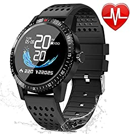 Fitness Trackers with Heart Rate Blood Pressure Monitor Activity Tracker Watch with Pedometer Sleep Monitor Round Face Smart Watch for Men Women Kids
