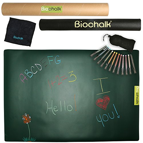 Biochalk Doodle Mat Set –Completely Dustless, Non-Toxic and Chemical Free Chalk –Includes Portable Chalkboard Mat,12 Chalk Pens and Cleaning Cloth (Mat Chalk)