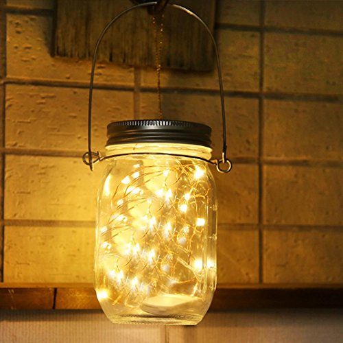 Rambling New Mason Jar Solar LED Lights w/Burlap Hangers, 20LED Waterproof Solar Fairy Lanterns for Outdoor Garden Decor Christmas Holiday Wedding Party(Jars included) (Yellow)