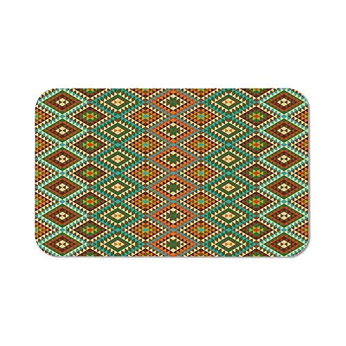 Ethnic Custom Mouse Pad,Mosaic Style Pattern with Ethnic Accents Symmetric Triangles Folkloric Elements for Electronic Games Office,11.81''Wx27.56''Lx0.08''H