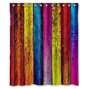 Special Design Cute Retro Colorful Wood Stripes Waterproof Bathroom Shower Curtain 60(W)x72(H)-Inch,Bathroom decor