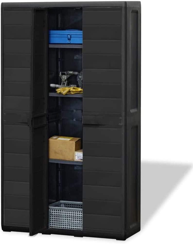 Estink Garden Floor Storage Cabinet, Modern Style Multifunctional Lockable Outdoor Storage Cabinet Organizer with Adjustable 4 Shelves for Home Patio Backyard Garden, 97 x 38 x 171 cm