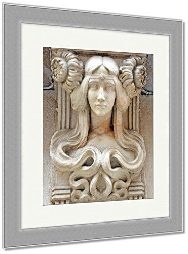 Ashley Framed Prints Art Nouveau Female Bust Stone Carving On Outside Of Building Barcelona Spain, Wall Art Home Decoration, Color, 35x30 (frame size), Silver Frame, AG5758396 by Ashley Framed Prints
