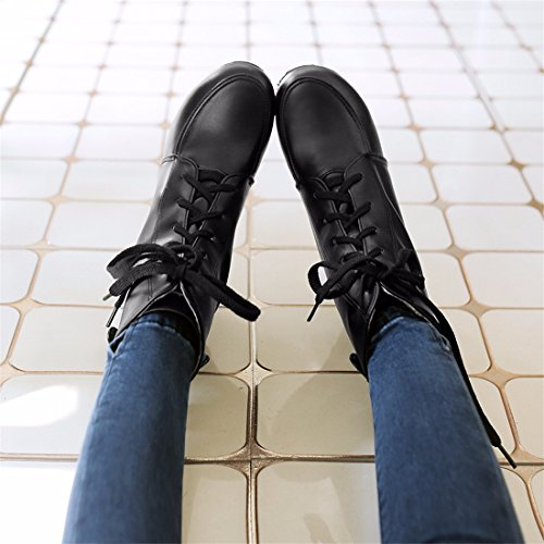 Botas Delantera Zapatos Moda de Women's de Shoes Corta Masa Sujeción Martin Black RFF Ligera Tallas ptqFvU