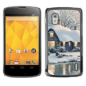 YOYO Slim PC / Aluminium Case Cover Armor Shell Portection //Christmas Holiday Snowy Lake House 1146 //LG Google Nexus 4