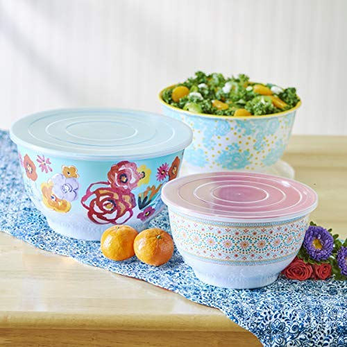 Pioneer Glass Bowls - The Pioneer Woman 6 Piece Set Flea Market Floral Melamine Serving Bowls with Lids