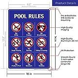 Pool Rules Sign, No Diving No Pushing No Running No